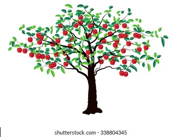 Apple tree on white background ,Vector illustration