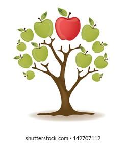 Apple. Tree vector illustration.