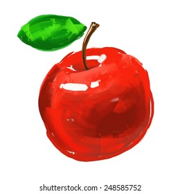 apple Vector illustration  hand drawn  painted watercolor
