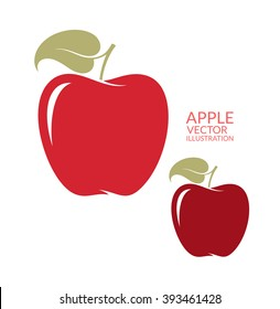 Apple. Vector illustration. Red apples with leaves on white background