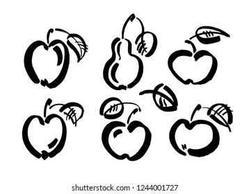 Apple vector sketch icon isolated on background. Hand drawn ink brush illustration. Pear sketch icon for infographic, website or app.