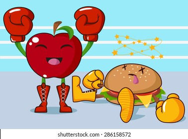 Apple versus burger, healthy fight