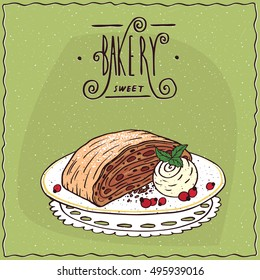 Apple Viennese strudel with vanilla ice cream, lie on lacy napkin. Green background and ornate lettering bakery. Handmade cartoon style. Vector illustration