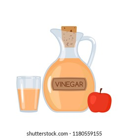 Apple vinegar in a bottle and a glass with an apple. A flat vector illustration isolated on a white background