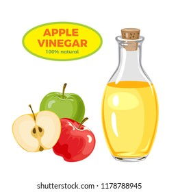 Apple vinegar in glass bottle isolated on  white background. Vector illustration in  flat style.