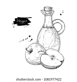 Apple vinegar vector drawing.  Hand drawn illustration. Glass bottle engraving. Isolated vintage  pitcher and fruit. Condiment and food dressing. Great for menu, banner, label, logo, flyer