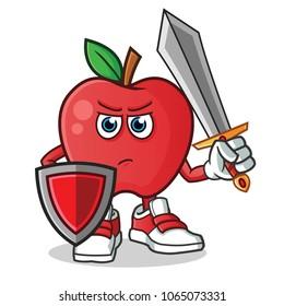 apple warior holding sword and shield mascot vector cartoon illustration
