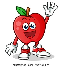 apple waving mascot vector cartoon illustration