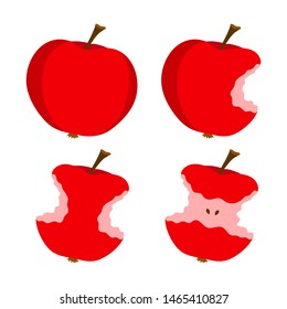 Apple whole and bitten fruits vector illustration