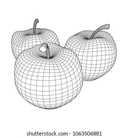 Apple wireframe low poly mesh vector illustration.