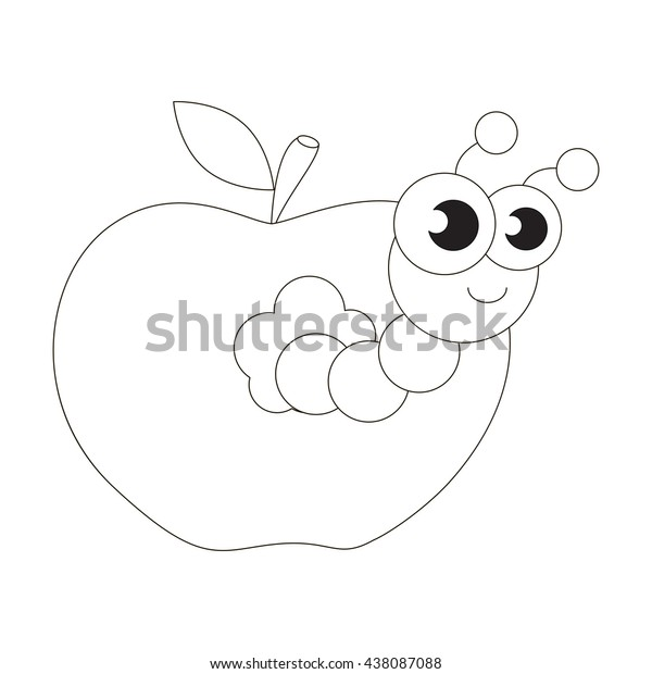 Apple Worm Be Colored Coloring Book Stock Vector Royalty Free 438087088
