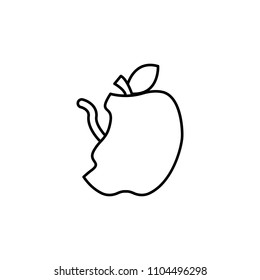 apple with a worm icon. Element of web icon for mobile concept and web apps. Thin line apple with a worm icon can be used for web and mobile. Premium icon on white background