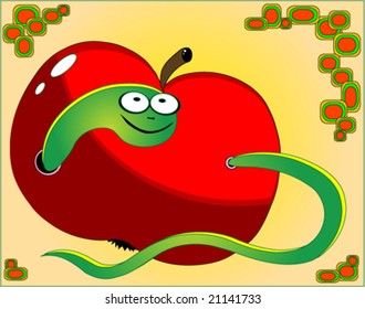 apple and worm, vector illustration