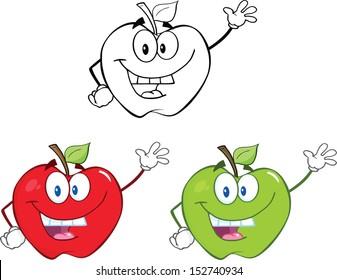Apples Cartoon Mascot Characters. Set Vector Collection 1