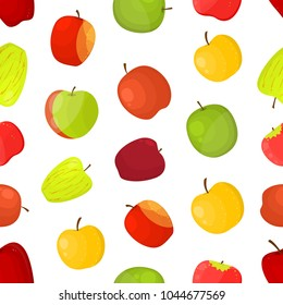 Apples Different Varieties Seamless Pattern Background on a White Fruit Set Include of Fuji, Cox, Braeburn, Royal Gala and Honeycrisp . Vector illustration of Apple