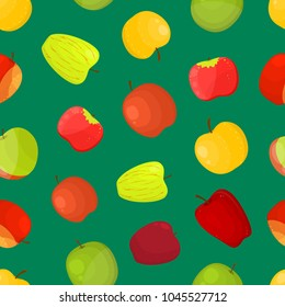 Apples Different Varieties Seamless Pattern Background on a Green Fruit Set Include of Fuji, Cox, Braeburn, Royal Gala and Honeycrisp . Vector illustration of Apple