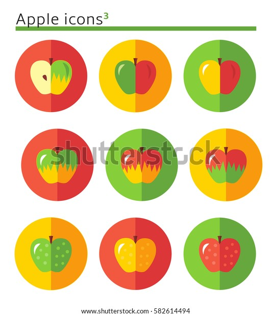 Apples. flat vector icon set in circles.. flat vector icon set in circles.
