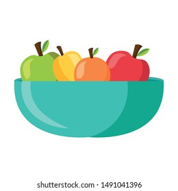 Apples inside bowl design, Fruit healthy organic food sweet and nature theme Vector illustration