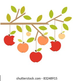 Apples on tree branch. Autumn vector illustration
