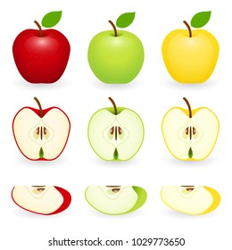 Apples red, green and golden with slices. Vector illustration isolated on white background. Apple pieces.