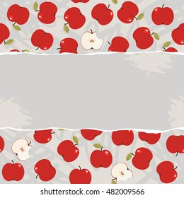 apples whole and half messy food raw healthy fruit autumn seasonal seamless pattern on light background with torn blank piece of paper horizontal place for your text