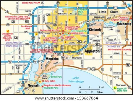Appleton Wisconsin Area Map Stock Vector Royalty Free 153667064
