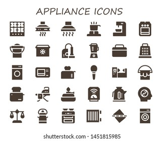 appliance icon set. 30 filled appliance icons.  Simple modern icons about  - Burner, Extractor hood, Hood, Cooker, Coffee machine, Stove, Bucket, Fridge, Vacuum, Blender, Grater