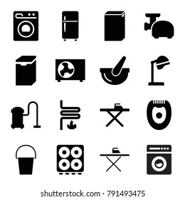 Appliance icons. set of 16 editable filled appliance icons such as salon hair dryer, ironing table, washing machine, vacuum cleaner, bucket, meat grinder, heating system
