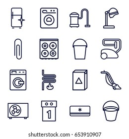 Appliance icons set. set of 16 appliance outline icons such as washing machine, bucket, salon hair dryer, vacuum cleaner, cooker, clean fridge, heating system, air conditioner