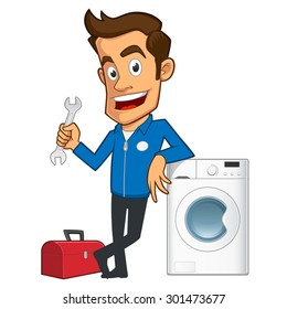 Appliance repair expert, he has a toolbox and a washing machine