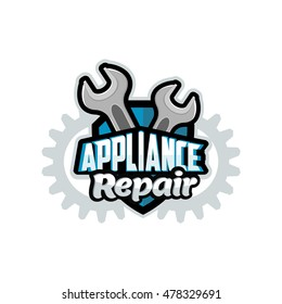 Appliance Repair logo blue, vector, illustration, background, banner, poster, symbol, badge