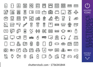 Appliances and electronics isolated icons set. Set of refrigerator, washing machine, cooker, gas stove, kettle, slow cooker, vacuum cleaner, kitchen processor, fitness bracelet, smart watch, tv icon