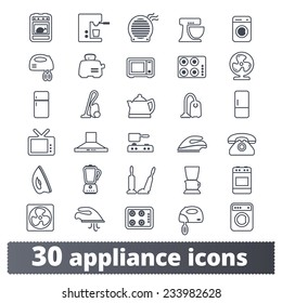 Appliances icons: vector set of domestic electric machines. Outline series.