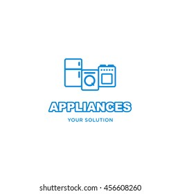 Appliances logo, icon, emblem,  sticker. On white background vector image of refrigerator, washing machine , plate .