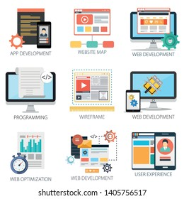 Application with App Development, Website Map, Web Development, Programing, Web Optimization and User Experience