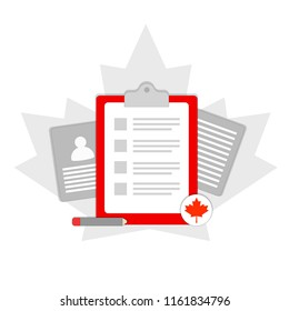Application check list for Permanent resident travel document immigration form and Canadian passport. Red maple leaf. Clip-on folder, document with text, pencil and photo ID card or passport