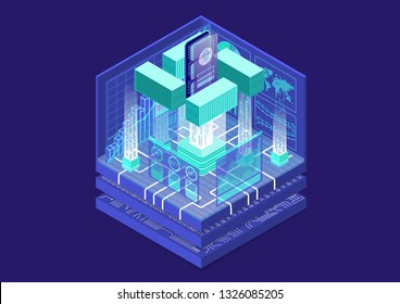 Application containerization and modular software development concept with symbol of smartphone and containers as isometric vector illustration.