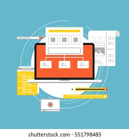 Application development with API interface flat vector illustration design. Technology concept for software API prototyping and testing