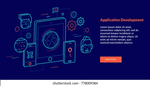 Application Development Concept for web page, banner, presentation. Vector illustration