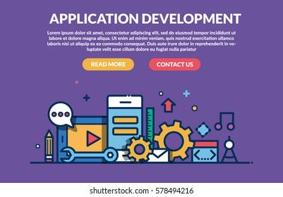 Application Development Concept for web site. Vector illustration