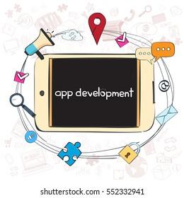Application Development Creative Process Business Concept Banner Concept Doodle Hand Draw Sketch Background Vector Illustration