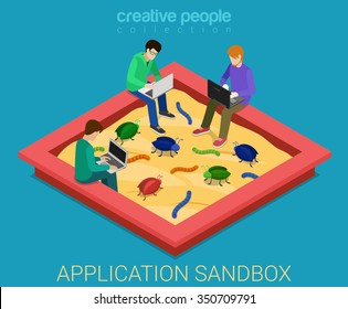 Application development sandbox debug flat 3d isometric isometry code programming technology concept web vector illustration. Programmer debugger debugging in sand box among bug worm. Creative people.