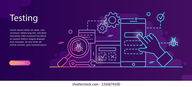 Application development, testing flat vector illustration.Smart team, Teamwork ,Software API prototyping and testing background. Smartphone interface building process, mobile app,   web page