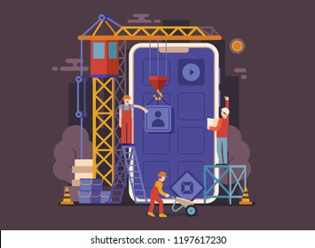Application development UI illustration in flat design. Mobile app building concept banner with industrial crane and team of workers developing and constructing applications.
