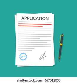 Application or document with a seal and a signature next to which is a pen. Application for leave or dismissal. Premium quality vector illustration in a flat style.
