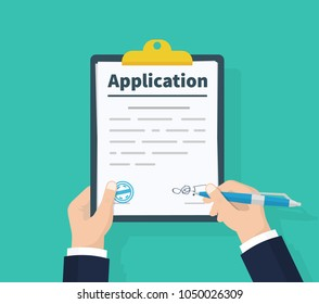 Application form. Man with clipboard in his hand fills in the form of employment. Write documents. Analyzing personnal resume. Flat design, vector illustration on green background