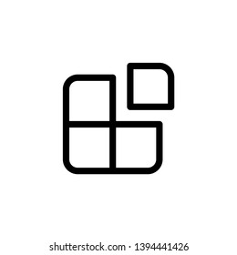 application icon design. four square with one box separate symbol. simple clean line art professional business management concept vector illustration design.