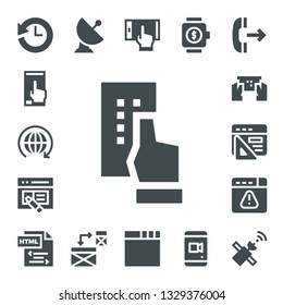 application icon set. 17 filled application icons.  Simple modern icons about  - History, Smartphone, World, Interface, Browser, Html, Satellite, Responsive, Smartwatch, Outgoing call