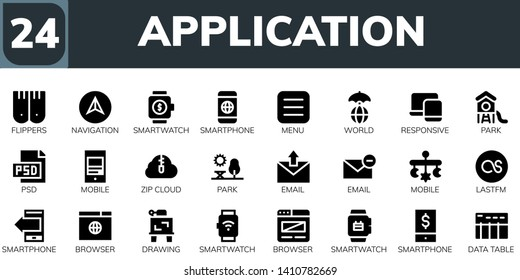 application icon set. 24 filled application icons.  Simple modern icons about  - Flippers, Navigation, Smartwatch, Smartphone, Menu, World, Responsive, Park, Psd, Mobile, Zip cloud