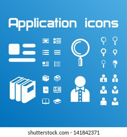 Application icons. Book icons, menu icons, search icons, profile icons